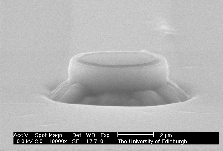 The nozzle of a planar patch clamp fabricated in a silicon wafer, viewed through an electron microscope